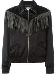 куртка-бомбер с бахромой Saint Laurent