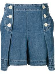 плиссированные джинсовые шорты Sacai