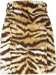 джинсовая юбка с зебровым принтом  Balmain