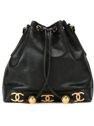 сумка-мешок с бляшками с логотипом Chanel Vintage