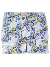 джинсовые шорты с цветочным принтом Giamba