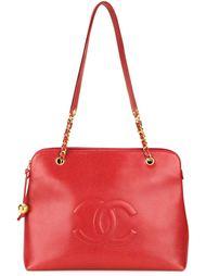 сумка на плечо с тисненым логотипом Chanel Vintage