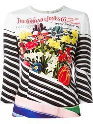 полосатый топ с цветочным принтом Mary Katrantzou
