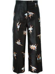 укороченные брюки с принтом балерин Rochas