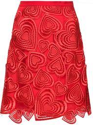 юбка с вышитыми сердцами Christopher Kane
