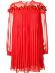 плиссированное платье с цветочной аппликацией  Giamba