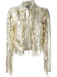 куртка с перфорированным дизайном и бахромой Roberto Cavalli