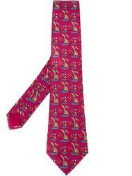 галстук с принтом кораблей Hermès Vintage