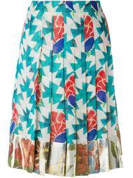 плиссированная юбка с цветочным принтом Chanel Vintage