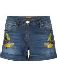 шорты с вышивкой птиц Roberto Cavalli