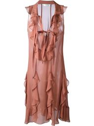 платье без рукавов с оборками  Chloé