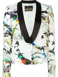 пиджак-смокинг с принтом птиц Roberto Cavalli