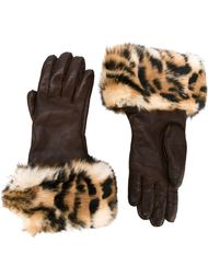 перчатки с леопардовым принтом Hermès Vintage
