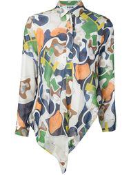 рубашка асимметричного кроя с абстрактным принтом  MSGM