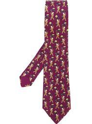 галстук с принтом фигур мальчика Hermès Vintage