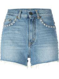 джинсовые шорты с заклепками Saint Laurent