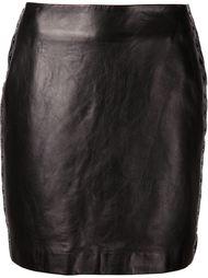 кожаная юбка с люверсами Mugler