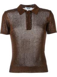 вязаная рубашка-поло с эффектом металлик MSGM