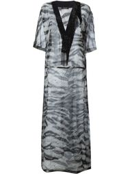 прозрачное платье-кафтан с зебровым принтом Roberto Cavalli