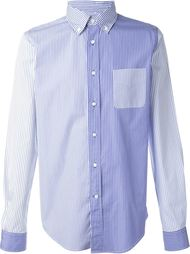 полосатая рубашка с панельным дизайном Wooster + Lardini
