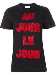 футболка с пайетками и логотипом Au Jour Le Jour