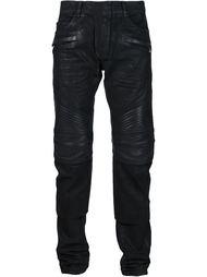 байкерские джинсы с контрастными вставками Balmain