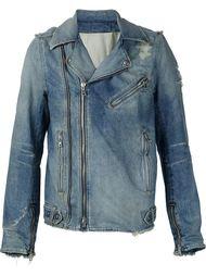 байкерская джинсовая куртка  Balmain
