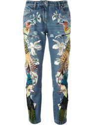джинсы с вышивкой  Roberto Cavalli