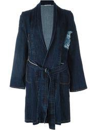 джинсовое пальто с поясом Ermanno Gallamini