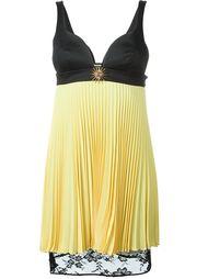 плиссированное платье с кружевным подолом Fausto Puglisi