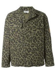 куртка с леопардовым принтом   Saint Laurent