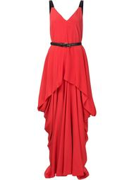 длинное драпированное платье с поясом  Vera Wang