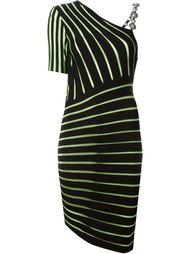 асимметричное платье в полоску  Fausto Puglisi