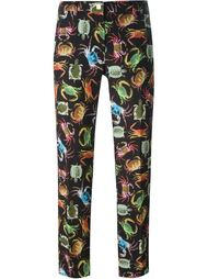 брюки кроя слим с принтом животных Versace Collection