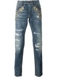 декорированные джинсы с рваными деталями   Dolce & Gabbana