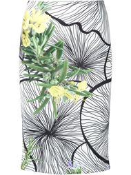 юбка-карандаш  с цветочным принтом Yigal Azrouel