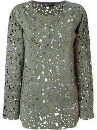 перфорированная замшевая блузка Roberto Cavalli