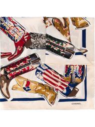 платок с принтом ковбойских сапог Chanel Vintage