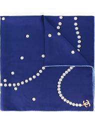 платок с принтом жемчужин Chanel Vintage