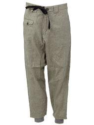 полосатые брюки с поясом на шнуровке Miharayasuhiro