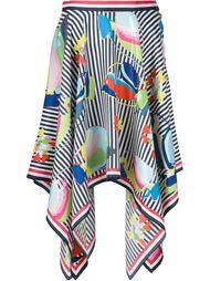 полосатая асимметричная юбка с принтом Thom Browne