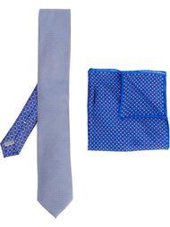 галстук и нагрудный платок с мелким узором Canali