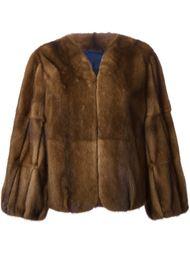 меховое пальто с пышными рукавами  Liska