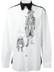 рубашка с контрастным воротником   Yohji Yamamoto