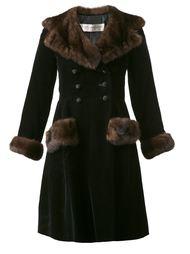 бархатное пальто с оторочкой из норки Yves Saint Laurent Vintage