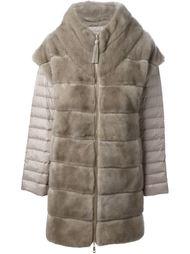 меховое пальто с дутыми рукавами  Liska