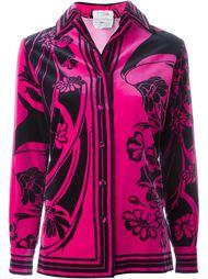 бархатный пиджак с цветочным принтом Emilio Pucci Vintage