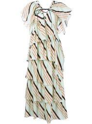 длинное многоярусное платье в полоску Sonia Rykiel
