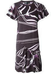 плиссированное платье с абстрактным принтом Y-3
