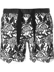 шорты с цветочной вышивкой  Moncler